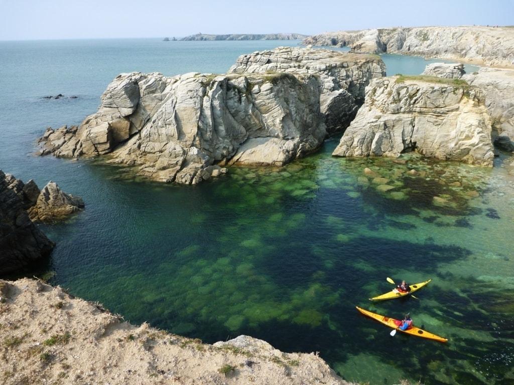 Kayak et Stand Up Paddle Quiberon Morbihan sillages canoe port bara surf calanques